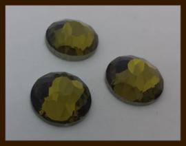 P0122: DQ Glazen Facet Plaksteen van 16mm: Groen-Bruin.