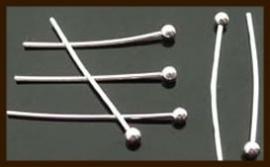 50st. Nikkelkleurige Nietstiften met Bol van 15mm.