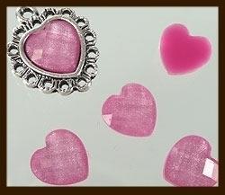 P079: Acryl Facet Geslepen Plaksteen Hartje van 10x10mm: Roze.