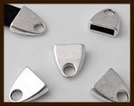 K0: Set van 2 Luxe Tibetaans Zilveren EindSluiting van 28x12mm, plakgat van 10x3.5mm.