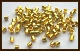 100st. Knijpkralen van 3mm: Tube Goud.