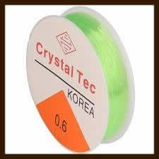 Rol Elastisch Nylondraad van 0.8mm, Lengte 8m: Transparant Licht Groen.
