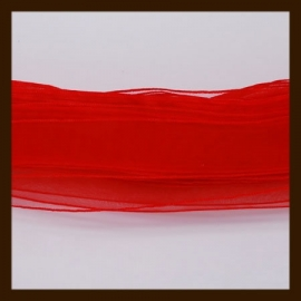 5m. Organza Lint: Rood.