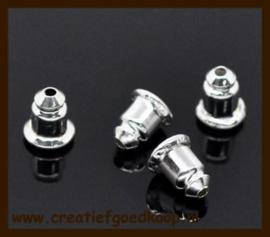Ost.018: 10st. Nikkelkleurige Oorbellen Stoppers/Dopjes van 6x5mm.