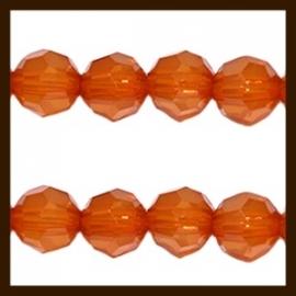 AC.419: 40st. Acryl Ronde Facet Kralen van 6mm: Mandarin Orange Opaal.