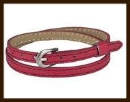 LSK930: Imitatieleren armband 38cm, geschikt voor schuifkralen. Kleur: Donker Rood.