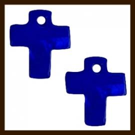 S010: 5st. Schelp Kruis Hangers van 13x10mm: Blauw.