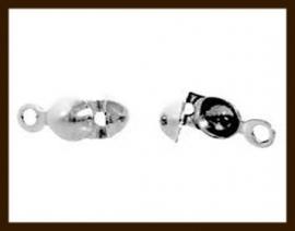 KL018: 10st. Enkeloog Kalotjes van 8x4mm: Nikkel.