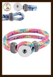 D560: DoubleBeads EasyButton Imitatieleren Armband: Blauw-Paars-Geel.