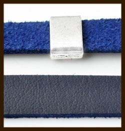 1 Meter IL07: Imitatie Leer van 10mm Breed: Blauw.