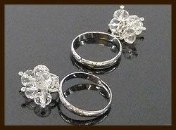 R114: Verstelbare Ring met Facet Glaskralen.