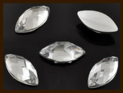 PSZ07: 10st. Ovale Facet Geslepen Acryl Plakstenen van 12x6mm: Transparant.