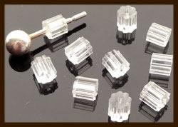 Ost.06: 50st. Acryl Oorbellen Stoppers van 3mm.