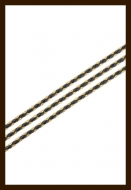 1m. Gevlochten Imitatie Leer van 3mm: Goud-Zwart.