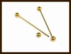 SHR040A: Metalen Nietstift met Afdraaibare Bol van 55mm: Goudkleur.