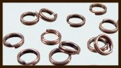 50st. Koperkleurige Dubbel - Split Ringen: Rond van 6mm.