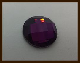 P0119: DQ Glazen Facet Plaksteen van 16mm: Paars.