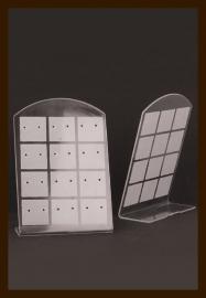 ORD1: Oorbellen Display Geschikt voor 12 paar Oorbellen van 9x6.5cm: Wit-Transparant.