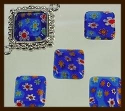 P067: Glazen Italian Style Plaksteen Vierkant van 14x14mm: Blauw.