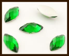 PSZ04: 10st. Ovale Facet Geslepen Acryl Plakstenen van 10x5mm: Groen.