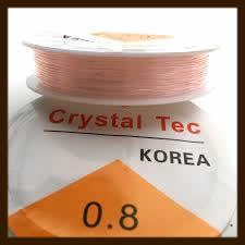Rol Elastisch Nylondraad van 0.8mm, Lengte 8m: Transparant Licht roze.