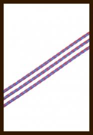 1m. Gevlochten Imitatie Leer van 3mm: Rood-Blauw.