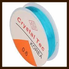 Rol Elastisch Nylondraad van 0.8mm, Lengte 8m: Transparant Licht Blauw.