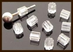 Ost.05: 10st. Acryl Oorbellen Stoppers van 3mm.