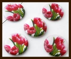 PSK020: Parelmoer Schelpkraal Bewerkt met Tulpen Motief: Roze-Groen.