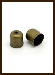 K017: Set van 2 Bronskleurige Eindkapjes van 5x4mm, rijggat is 3.2mm.