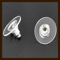 Ost.021: 10st. Zilverkleurige Oorbellen Stoppers met Acryl Rand van 11x7mm.