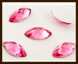 PSZ01: 10st. Ovale Facet Geslepen Acryl Plakstenen van 10x5mm: Roze.