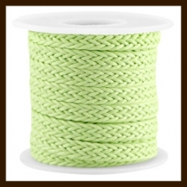 GWK31065: 20cm. Geweven Waxkoord van 7mm: Bright Green.