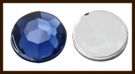 P704: Facet Geslepen Kunststof Plaksteen Rond van 12mm: Donker Blauw.