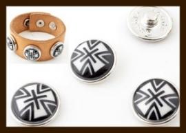 CH016: Chunk-Drukknoop-Easy Button van 18mm: Zwart-Wit.