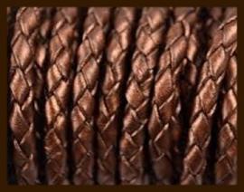 1m. Gevlochten Imitatie Leer van 3mm: Goud Bruin.