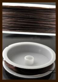 Rol Elastisch Nylondraad van 0.5mm, lengte 10m: Donker Bruin.