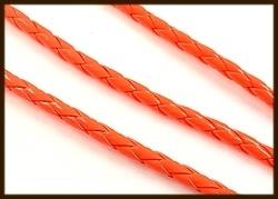 1m. Gevlochten Imitatie Leer van 4mm: Fluor Oranje.