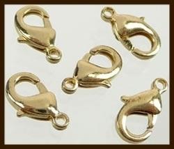 10st. Karabijn Sluitingen 12mm: Goudkleur.