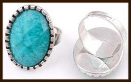 R03: Ring Blauw in maat verstelbaar.