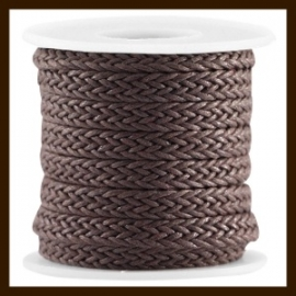GWK31071: 20cm. Geweven Waxkoord van 7mm: Dark Chocolate Brown.