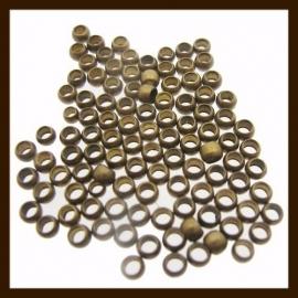 100st. Knijpkralen van 2mm: Donker Brons.