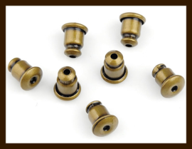 Ost.020: 10st. Bronskleurige Oorbellen Stoppers/Dopjes van 6x5mm. (Donker Bronskleur).