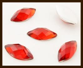 PSZ09: 10st. Ovale Facet Geslepen Acryl Plakstenen van 12x6mm: Rood.