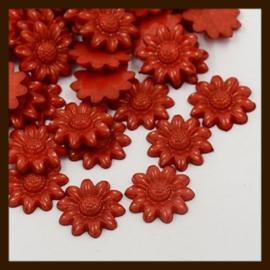 Acryl plaksteen Bloem van 20mm: Rood.