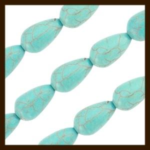NK05: Natuurstenen-Keramiek Turquoise Druppel Kraal: Turquoise.