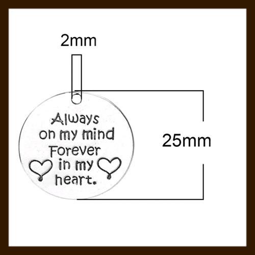 HDK020c: Hanger Amulet van 25mm: Always on my mind. Forever in my heart.