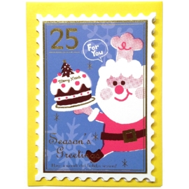 Christmas card small Santa's Cake