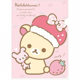 A4 insteekmap Korilakkuma Strawberries roze