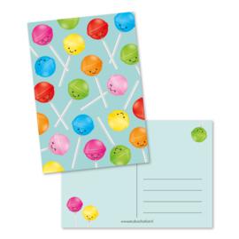Postcard kawaii lollipops mint